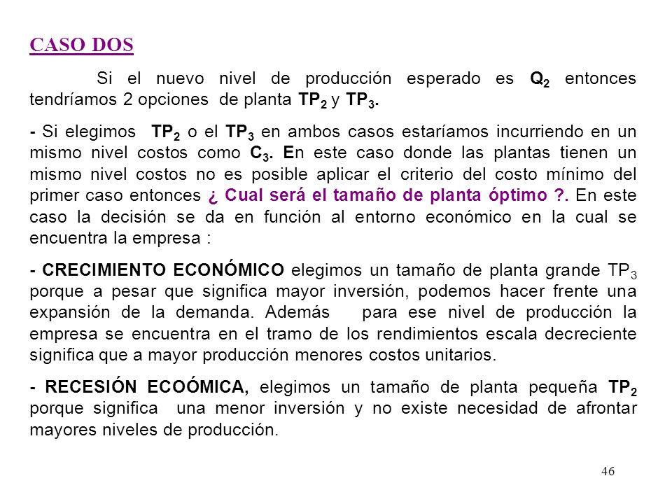TAMAÑO OPTIMO DE PLANTA CMeLp TP 2 TP 1 Producción Costos CMeCp 1 CMeCp 2 CMeCp 3 Q2Q2 Q1Q1 C1C1 C2C2 45