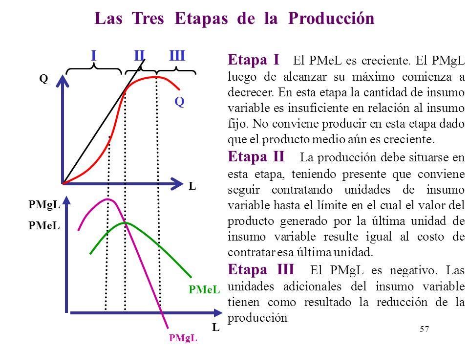 Relación entre Producto Total, Producto Marginal y Producto Medio PMgL muestra el incremento en la producción total debido a incrementos en el factor