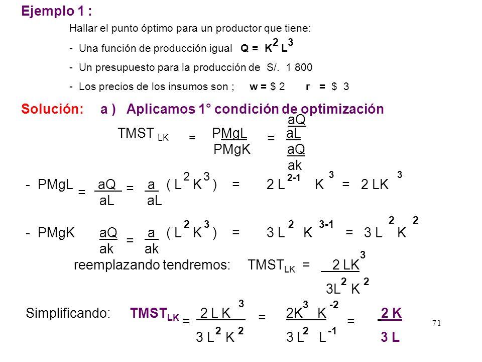 pero m Isocuanta = - TMST KL y m Isocostos = - w/ r w r TMST KL w r Pero la TMST KL = PMgL / PMgK = CONDICIÓN DE EQUILIBRIO E Max. Q f ( L,K ) s.a min