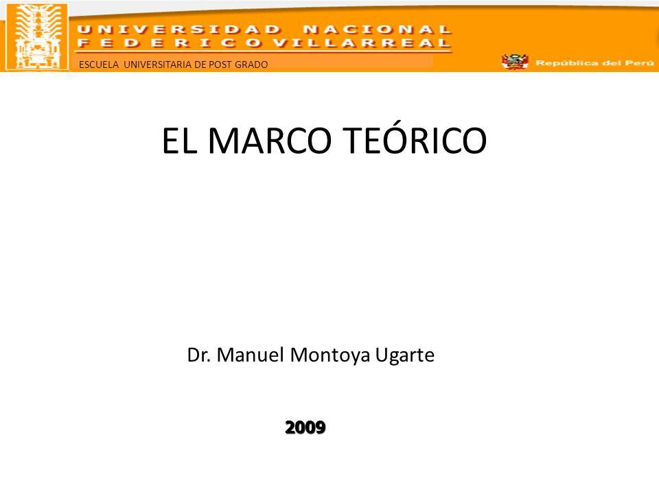ESCUELA UNIVERSITARIA DE POST GRADO EL MARCO TEÓRICO Dr. Manuel Montoya Ugarte 2009