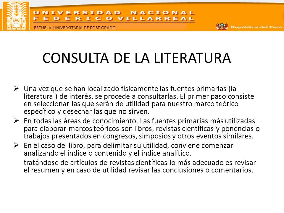 ESCUELA UNIVERSITARIA DE POST GRADO CONSULTA DE LA LITERATURA Una vez que se han localizado físicamente las fuentes primarias (la literatura ) de inte