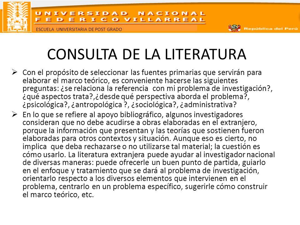 ESCUELA UNIVERSITARIA DE POST GRADO CONSULTA DE LA LITERATURA Con el propósito de seleccionar las fuentes primarias que servirán para elaborar el marc