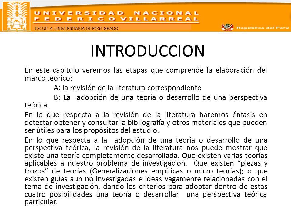 ESCUELA UNIVERSITARIA DE POST GRADO INTRODUCCION En este capitulo veremos las etapas que comprende la elaboración del marco teórico: A: la revisión de