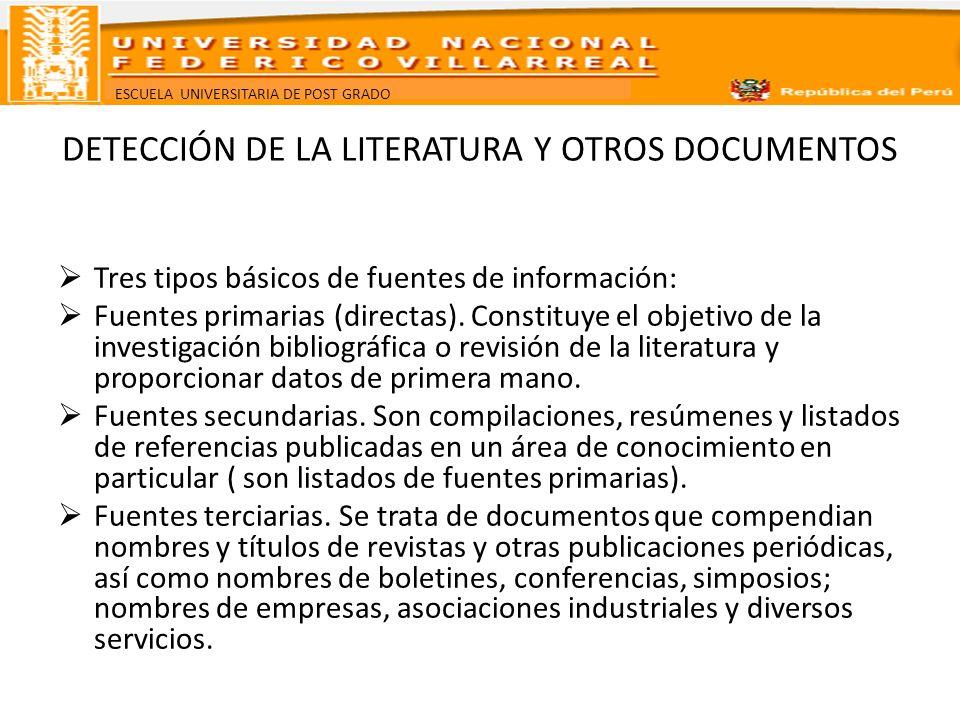 ESCUELA UNIVERSITARIA DE POST GRADO DETECCIÓN DE LA LITERATURA Y OTROS DOCUMENTOS Tres tipos básicos de fuentes de información: Fuentes primarias (dir