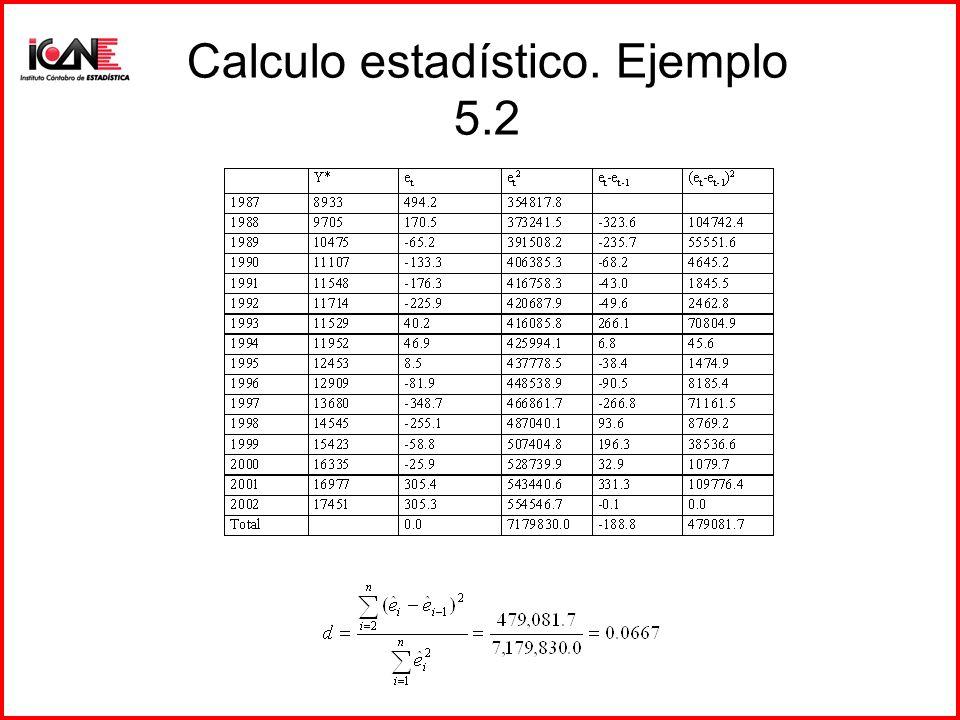 Calculo estadístico. Ejemplo 5.2