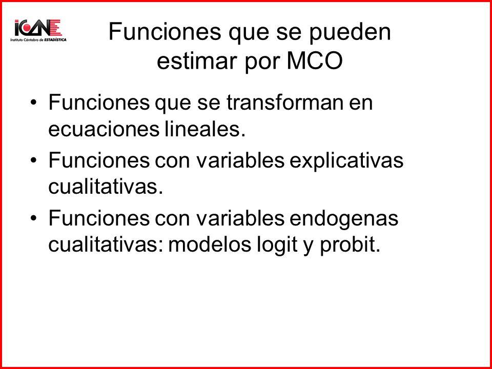 Funciones que se pueden estimar por MCO Funciones que se transforman en ecuaciones lineales. Funciones con variables explicativas cualitativas. Funcio