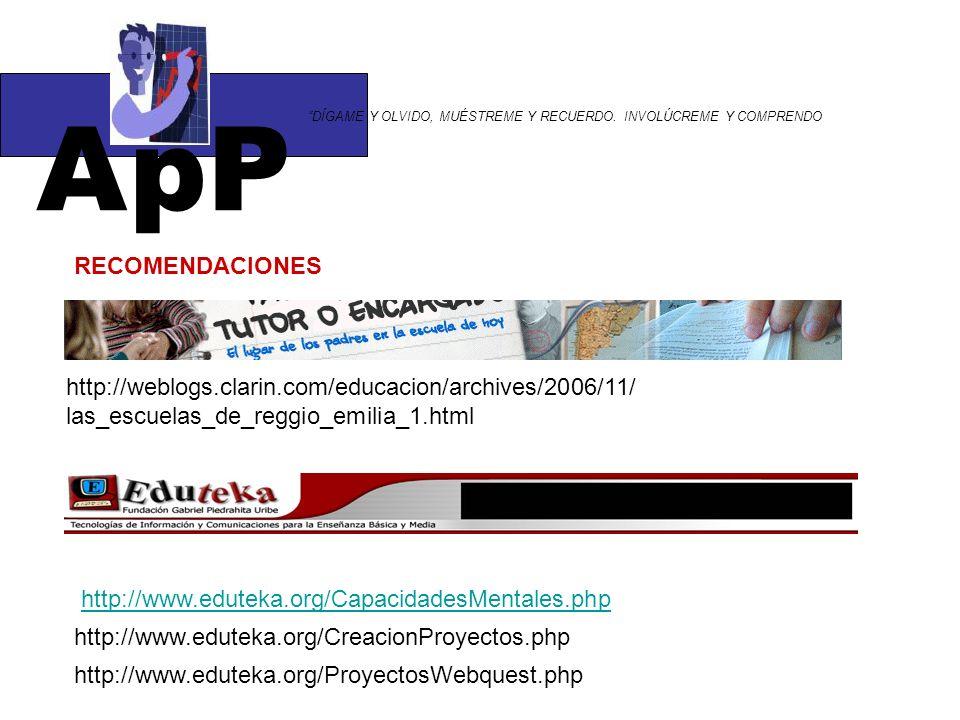 ApP DÍGAME Y OLVIDO, MUÉSTREME Y RECUERDO. INVOLÚCREME Y COMPRENDO http://weblogs.clarin.com/educacion/archives/2006/11/ las_escuelas_de_reggio_emilia