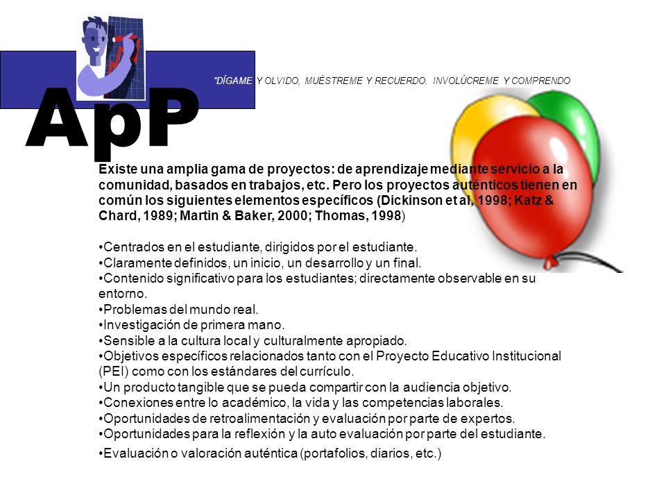 PRINCIPIOS DEL APRENDIZAJE POR PROYECTOS AUTENTICIDAD RIGOR ACADÉMICO APLICACIÓN DEL APRENDIZAJE EXPLORACIÓN ACTIVA INTERACCIÓN EVALUACIÓN http://www.eduteka.org/pdfdir/AesAprendizajePorProyectos.pdf
