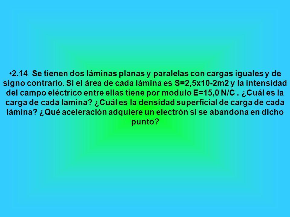 2.14 Se tienen dos láminas planas y paralelas con cargas iguales y de signo contrario. Si el área de cada lámina es S=2,5x10-2m2 y la intensidad del c