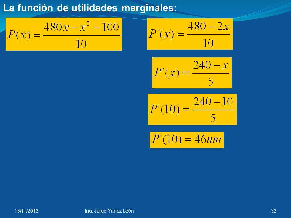 13/11/2013Ing. Jorge Yánez León32 La función de utilidades: P(x) = R(x) – C(x)
