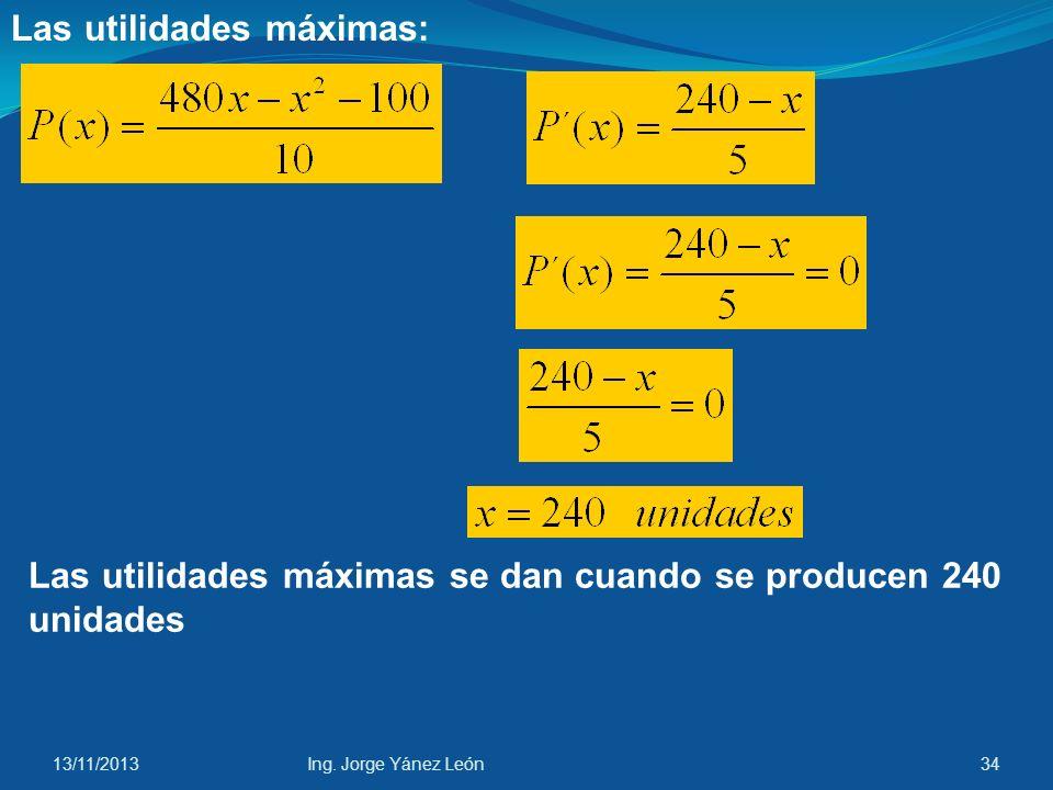 13/11/2013Ing. Jorge Yánez León33 La función de utilidades marginales: