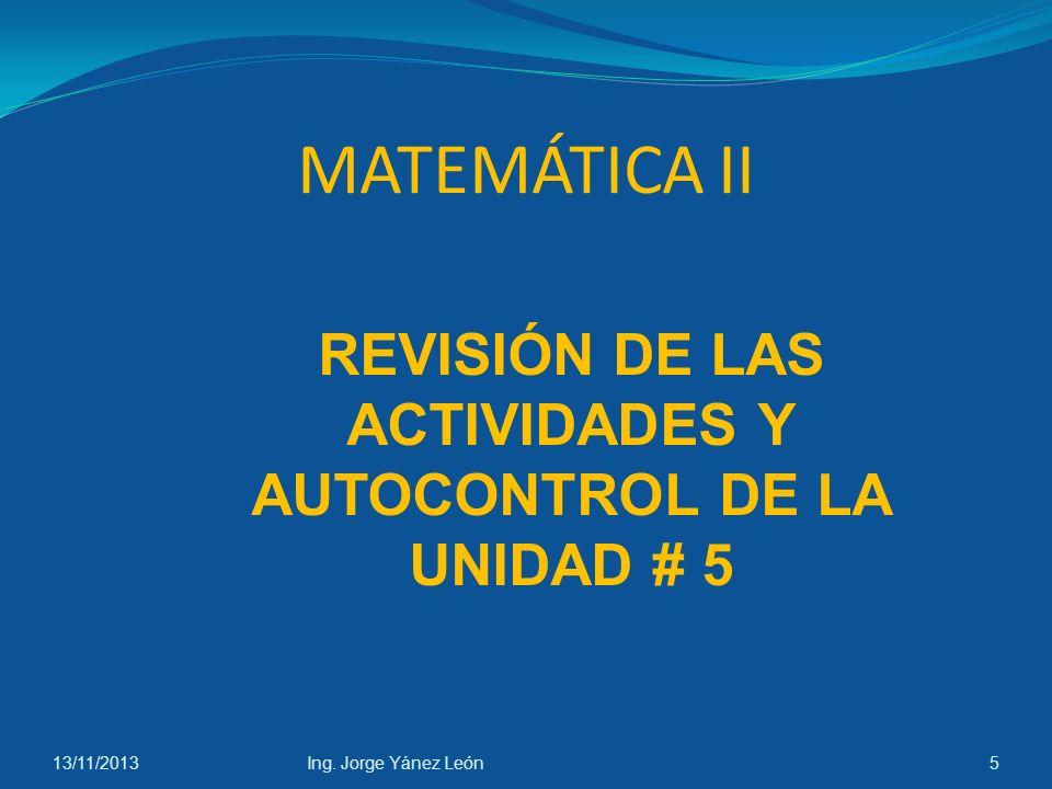 13/11/2013Ing. Jorge Yánez León15 Mínimo: (1,1) Máximo:(0.33, 1.15) Inflexión: (0.66, 1.07)