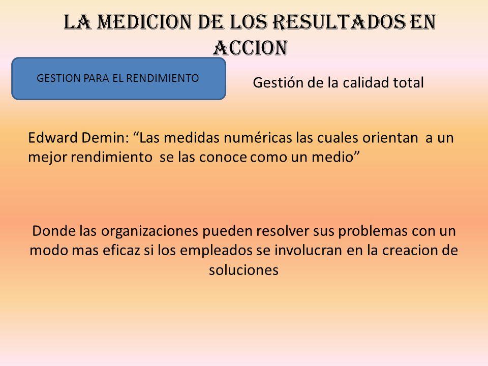 LA MEDICION DE LOS RESULTADOS EN ACCION GESTION PARA EL RENDIMIENTO Gestión de la calidad total Edward Demin: Las medidas numéricas las cuales orienta