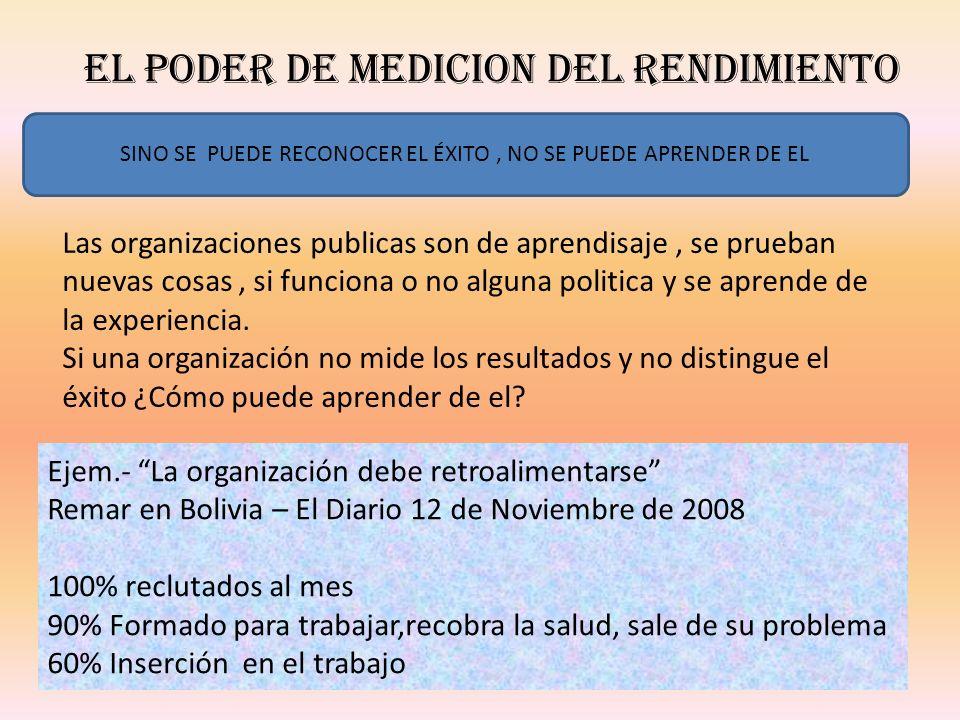 EL PODER DE MEDICION DEL RENDIMIENTO ¿Porque los programas de gobierno sobreviven durante décadas una vez obsoletos.
