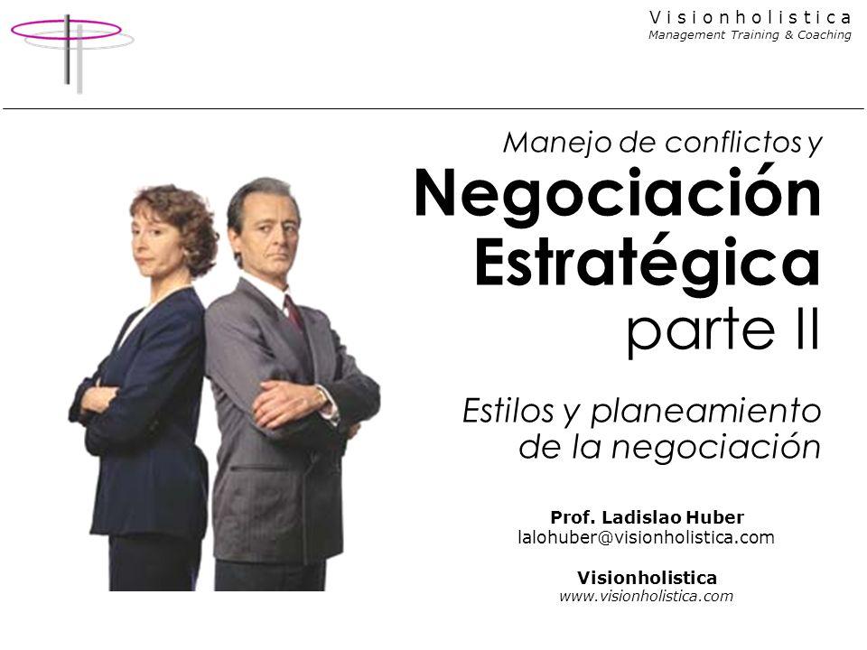 V i s i o n h o l i s t i c a Management Training & Coaching Manejo de conflictos y Negociación Estratégica parte II Estilos y planeamiento de la nego