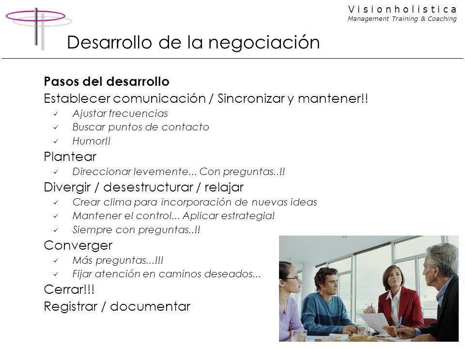 V i s i o n h o l i s t i c a Management Training & Coaching Desarrollo de la negociación Pasos del desarrollo Establecer comunicación / Sincronizar y