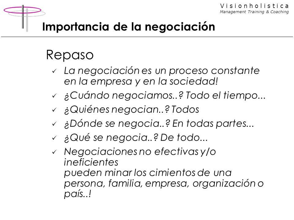 V i s i o n h o l i s t i c a Management Training & Coaching Importancia de la negociación Repaso La negociación es un proceso constante en la empresa