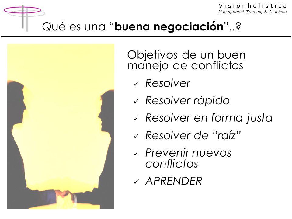 V i s i o n h o l i s t i c a Management Training & Coaching Qué es una buena negociación..? Objetivos de un buen manejo de conflictos Resolver Resolv