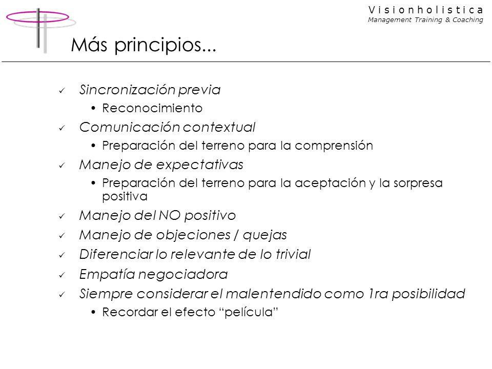 V i s i o n h o l i s t i c a Management Training & Coaching Más principios... Sincronización previa Reconocimiento Comunicación contextual Preparació