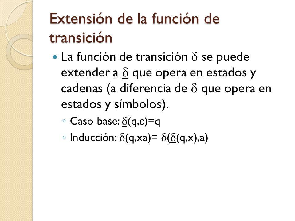 Extensión de la función de transición La función de transición se puede extender a que opera en estados y cadenas (a diferencia de que opera en estado