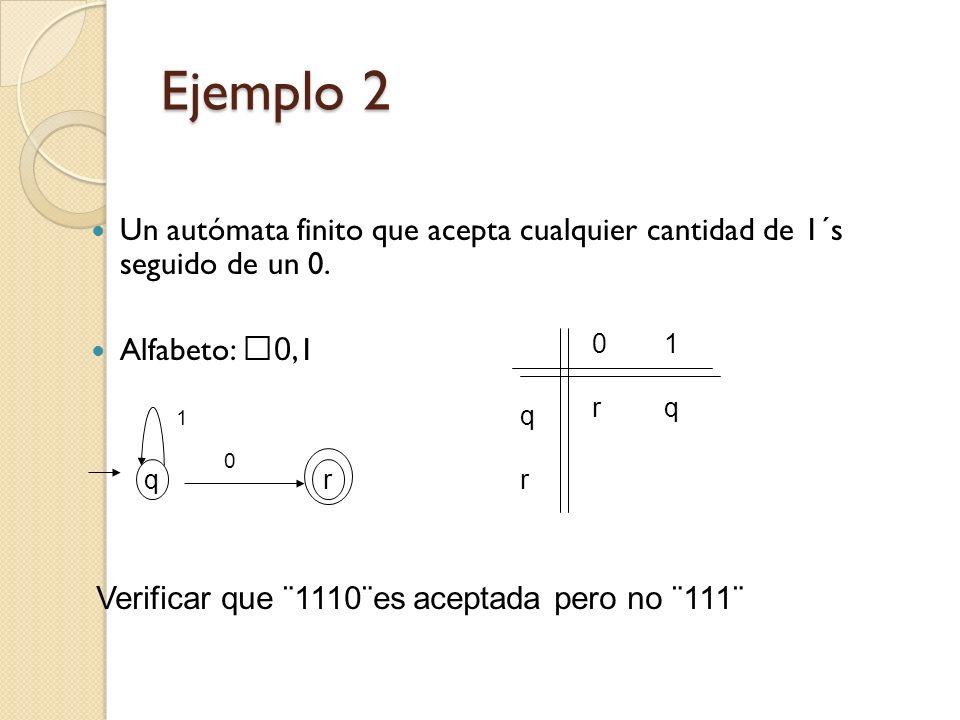 Ejemplo 2 Un autómata finito que acepta cualquier cantidad de 1´s seguido de un 0. Alfabeto: 0,1 r 0 1 Verificar que ¨1110¨es aceptada pero no ¨111¨ q