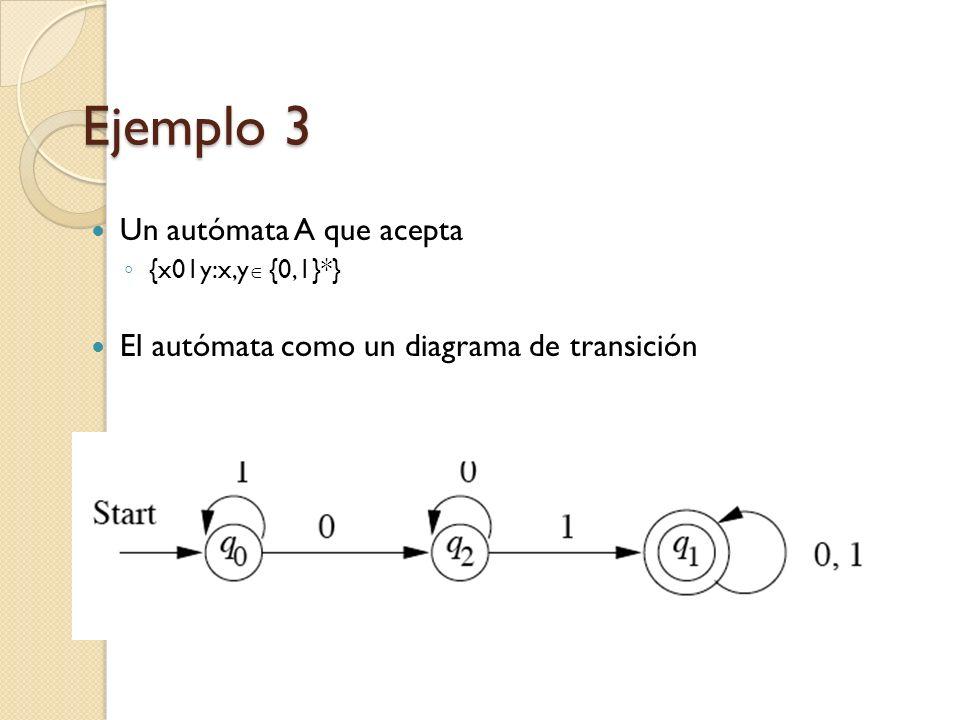 Ejemplo 3 Un autómata A que acepta {x01y:x,y {0,1}*} El autómata como un diagrama de transición