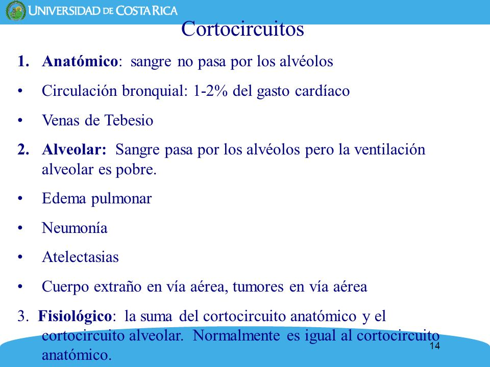 14 Cortocircuitos 1.Anatómico: sangre no pasa por los alvéolos Circulación bronquial: 1-2% del gasto cardíaco Venas de Tebesio 2.Alveolar: Sangre pasa