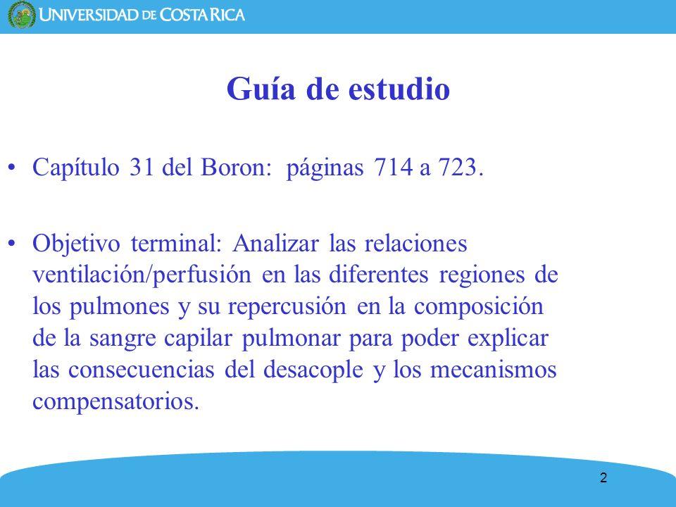 2 Guía de estudio Capítulo 31 del Boron: páginas 714 a 723. Objetivo terminal: Analizar las relaciones ventilación/perfusión en las diferentes regione