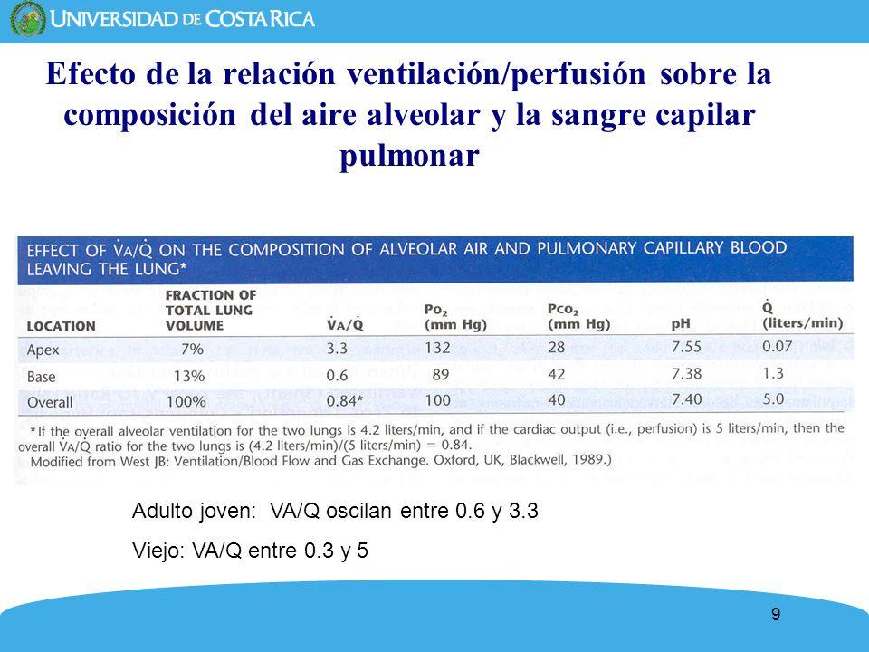 10 Efecto de la relación ventilación/perfusión sobre la composición del aire alveolar y la sangre capilar pulmonar Adulto joven: VA/Q oscilan entre 0.6 y 3.3 Viejo: VA/Q entre 0.3 y 5