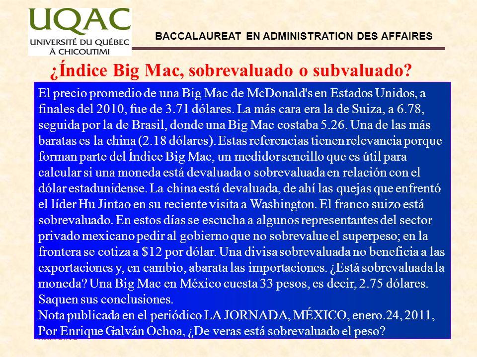 Dr. Ernesto García Díaz Julio 2012 BACCALAUREAT EN ADMINISTRATION DES AFFAIRES 10 ¿Índice Big Mac, sobrevaluado o subvaluado? El precio promedio de un