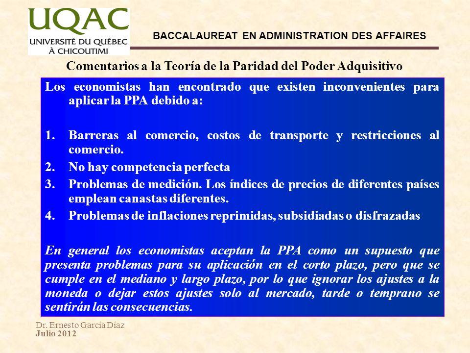 Dr. Ernesto García Díaz Julio 2012 BACCALAUREAT EN ADMINISTRATION DES AFFAIRES Comentarios a la Teoría de la Paridad del Poder Adquisitivo Los economi