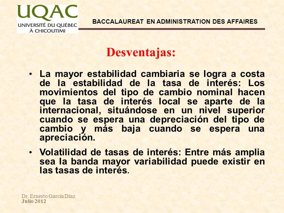 Dr. Ernesto García Díaz Julio 2012 BACCALAUREAT EN ADMINISTRATION DES AFFAIRES Desventajas: La mayor estabilidad cambiaria se logra a costa de la esta