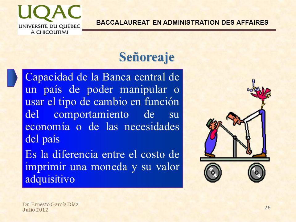 Dr. Ernesto García Díaz Julio 2012 BACCALAUREAT EN ADMINISTRATION DES AFFAIRES 26 Señoreaje Capacidad de la Banca central de un país de poder manipula