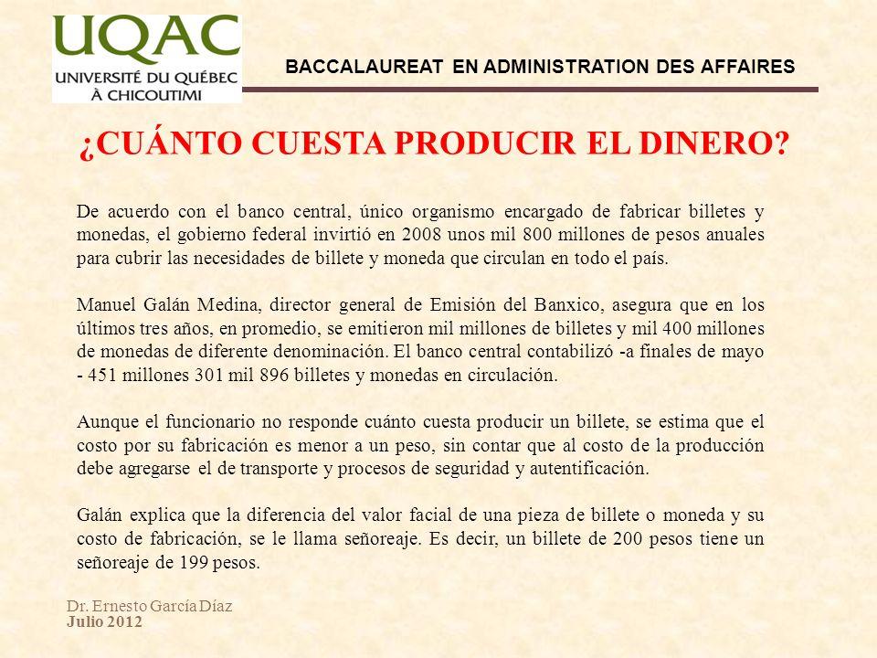 Dr. Ernesto García Díaz Julio 2012 BACCALAUREAT EN ADMINISTRATION DES AFFAIRES De acuerdo con el banco central, único organismo encargado de fabricar