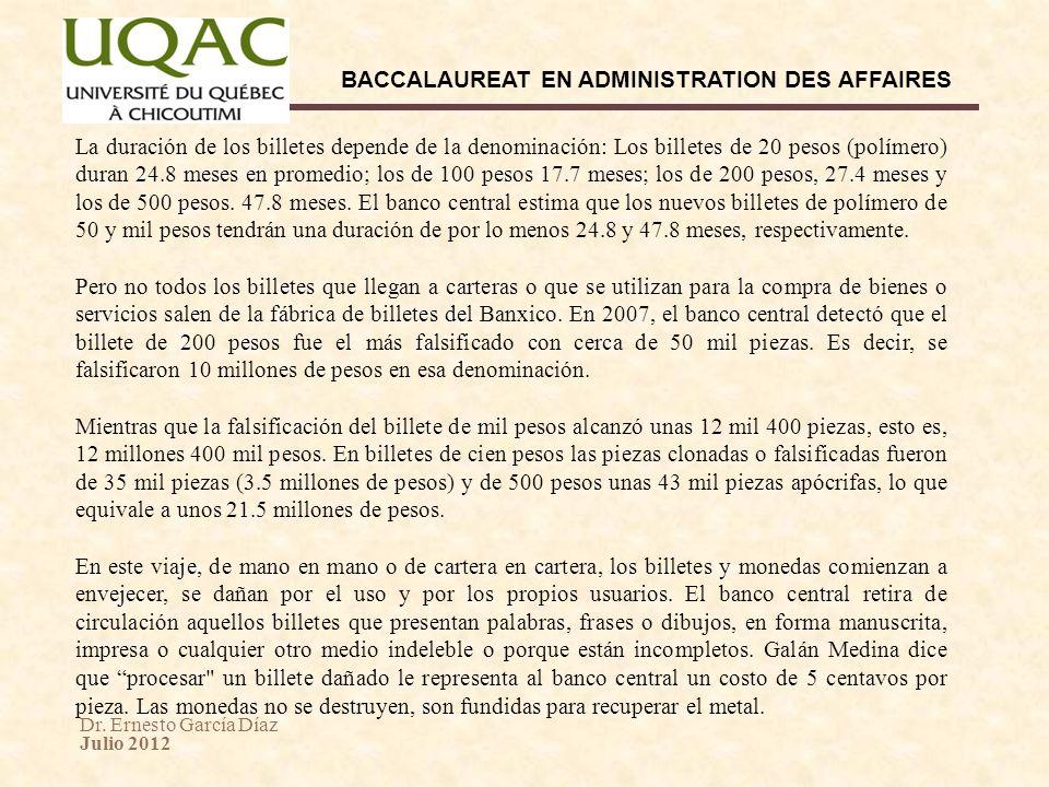 Dr. Ernesto García Díaz Julio 2012 BACCALAUREAT EN ADMINISTRATION DES AFFAIRES La duración de los billetes depende de la denominación: Los billetes de