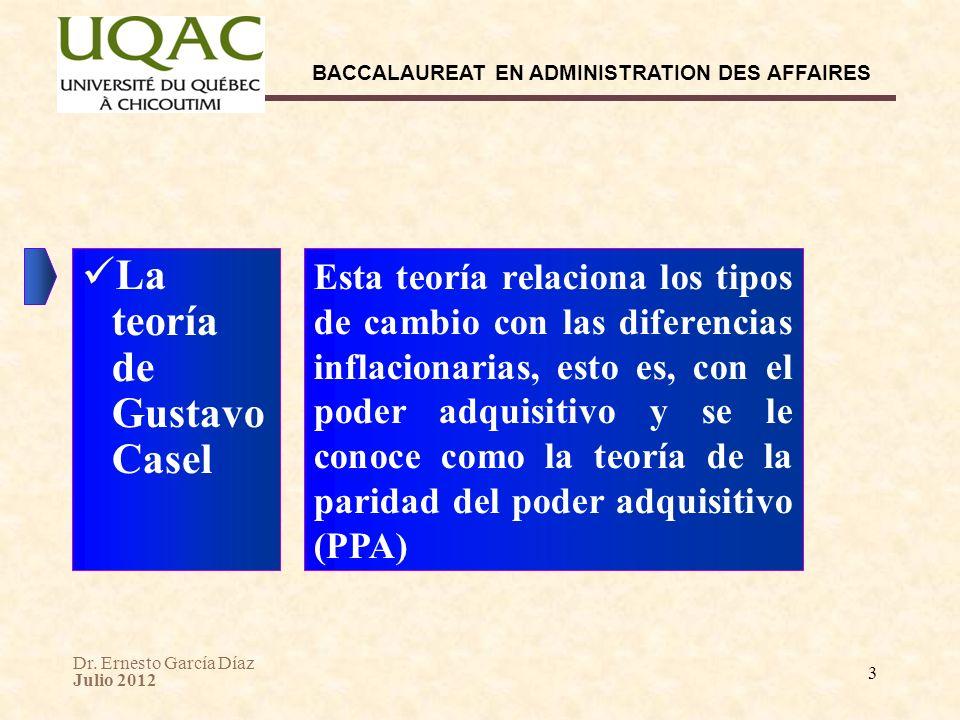Dr. Ernesto García Díaz Julio 2012 BACCALAUREAT EN ADMINISTRATION DES AFFAIRES 3 Esta teoría relaciona los tipos de cambio con las diferencias inflaci