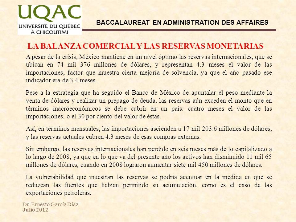 Dr. Ernesto García Díaz Julio 2012 BACCALAUREAT EN ADMINISTRATION DES AFFAIRES LA BALANZA COMERCIAL Y LAS RESERVAS MONETARIAS A pesar de la crisis, Mé