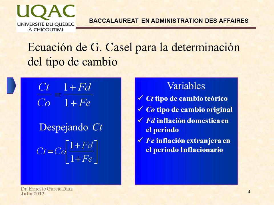 Dr. Ernesto García Díaz Julio 2012 BACCALAUREAT EN ADMINISTRATION DES AFFAIRES 4 Ecuación de G. Casel para la determinación del tipo de cambio Variabl