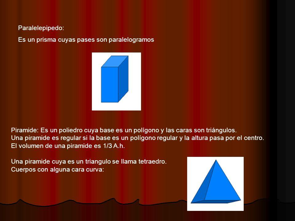 Paralelepipedo: Es un prisma cuyas pases son paralelogramos Piramide: Es un poliedro cuya base es un polígono y las caras son triángulos.