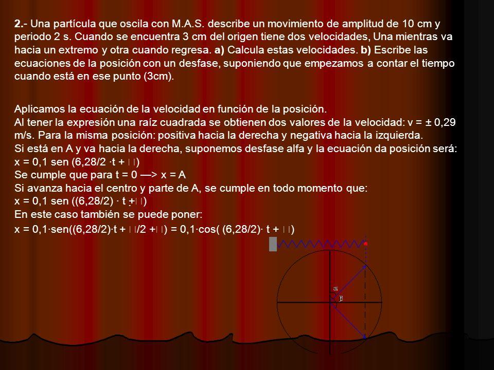 2.- Una partícula que oscila con M.A.S.describe un movimiento de amplitud de 10 cm y periodo 2 s.