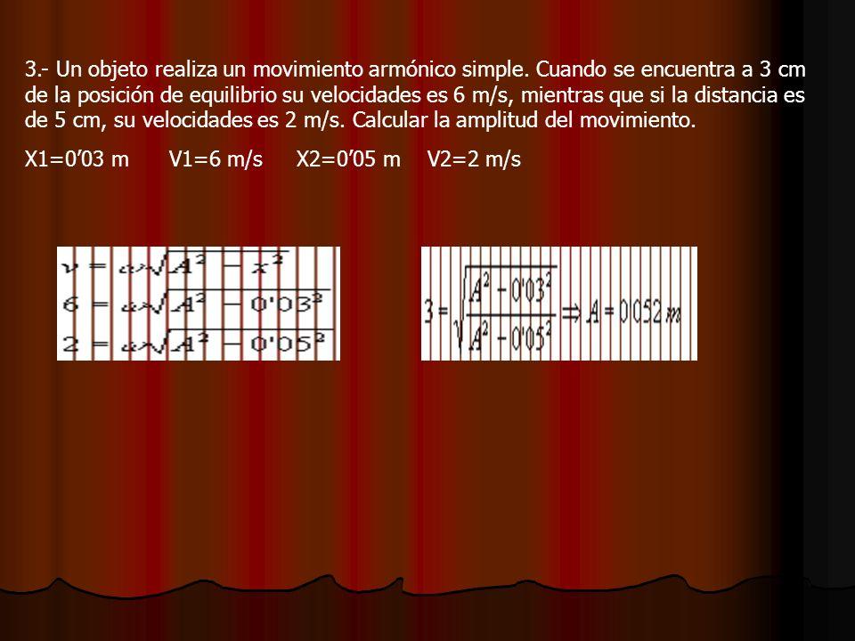 3.- Un objeto realiza un movimiento armónico simple.