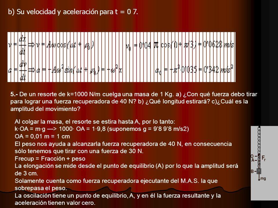 b) Su velocidad y aceleración para t = 0 7.