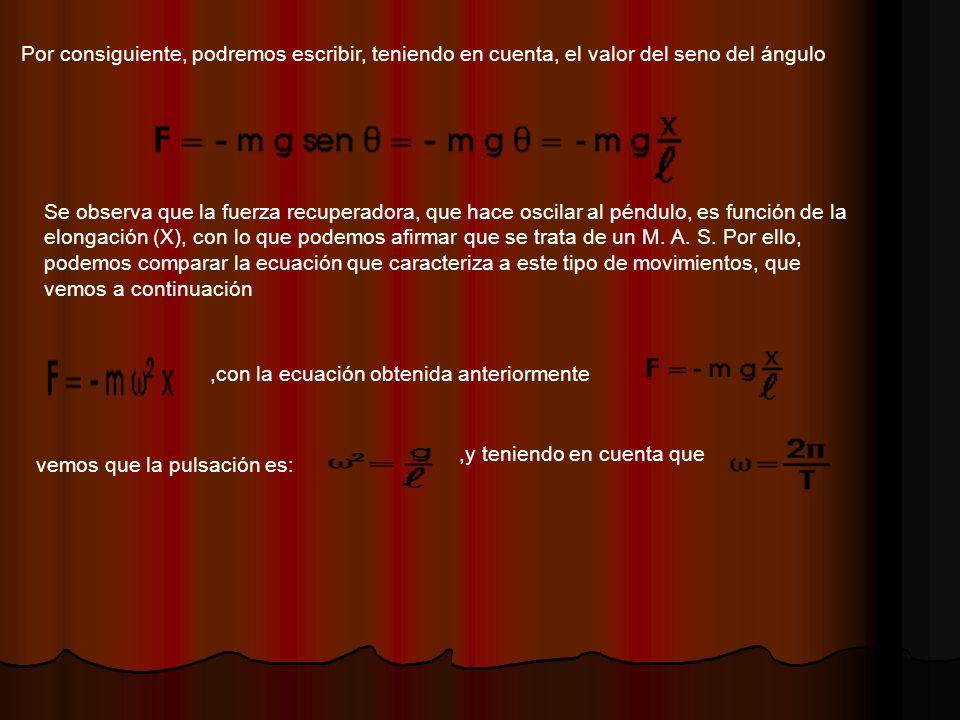 Por consiguiente, podremos escribir, teniendo en cuenta, el valor del seno del ángulo Se observa que la fuerza recuperadora, que hace oscilar al péndulo, es función de la elongación (X), con lo que podemos afirmar que se trata de un M.