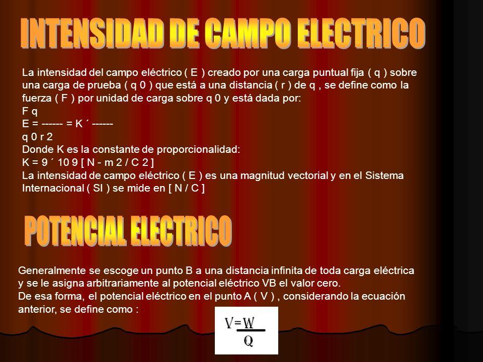 La intensidad del campo eléctrico ( E ) creado por una carga puntual fija ( q ) sobre una carga de prueba ( q 0 ) que está a una distancia ( r ) de q, se define como la fuerza ( F ) por unidad de carga sobre q 0 y está dada por: F q E = ------ = K ´ ------ q 0 r 2 Donde K es la constante de proporcionalidad: K = 9 ´ 10 9 [ N - m 2 / C 2 ] La intensidad de campo eléctrico ( E ) es una magnitud vectorial y en el Sistema Internacional ( SI ) se mide en [ N / C ] Generalmente se escoge un punto B a una distancia infinita de toda carga eléctrica y se le asigna arbitrariamente al potencial eléctrico VB el valor cero.