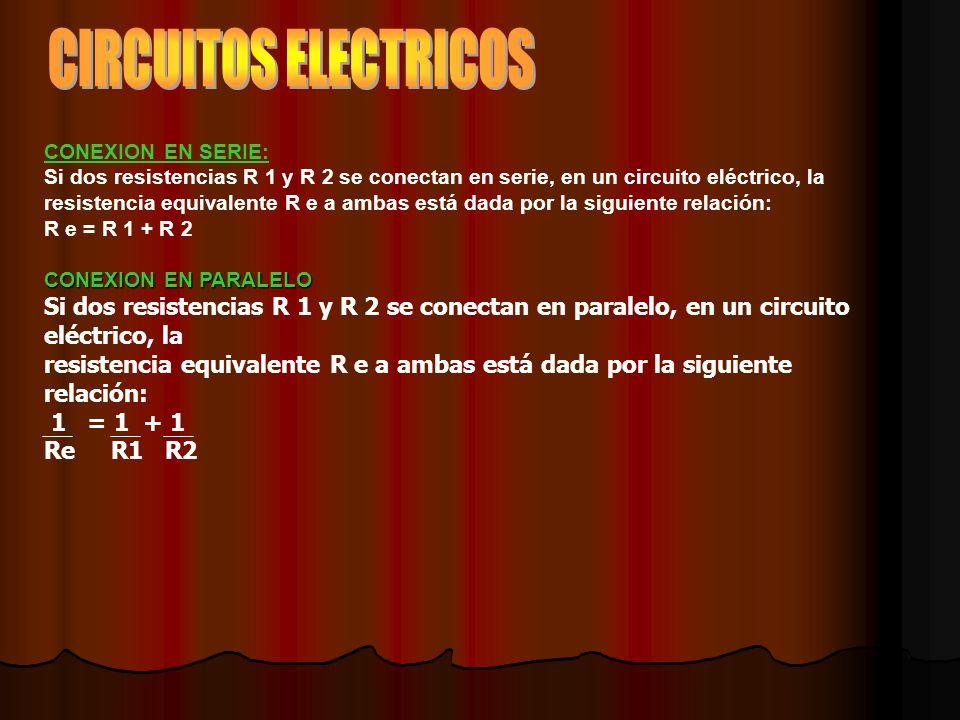 CONEXION EN SERIE: Si dos resistencias R 1 y R 2 se conectan en serie, en un circuito eléctrico, la resistencia equivalente R e a ambas está dada por la siguiente relación: R e = R 1 + R 2 CONEXION EN PARALELO Si dos resistencias R 1 y R 2 se conectan en paralelo, en un circuito eléctrico, la resistencia equivalente R e a ambas está dada por la siguiente relación: 1 = 1 + 1 Re R1 R2