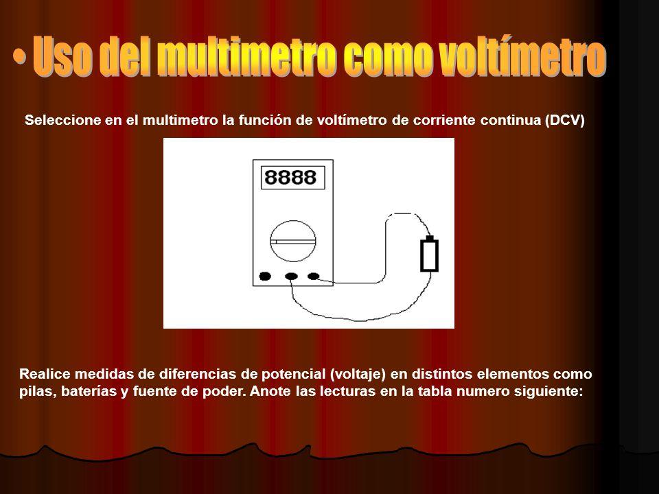 Seleccione en el multimetro la función de voltímetro de corriente continua (DCV) Realice medidas de diferencias de potencial (voltaje) en distintos elementos como pilas, baterías y fuente de poder.
