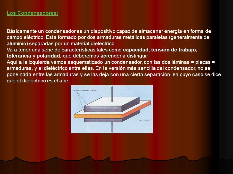 Los Condensadores: Básicamente un condensador es un dispositivo capaz de almacenar energía en forma de campo eléctrico.