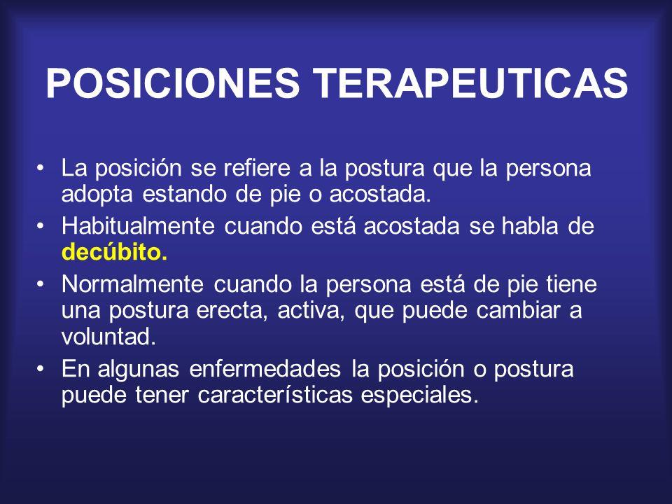 POSICIONES TERAPEUTICAS La posición se refiere a la postura que la persona adopta estando de pie o acostada. Habitualmente cuando está acostada se hab