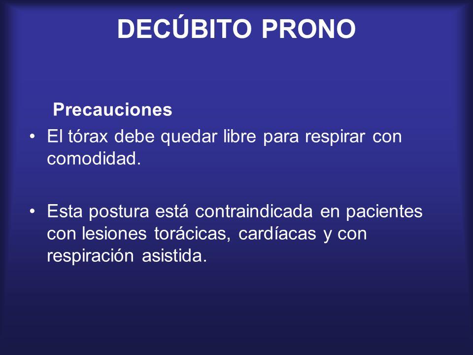 DECÚBITO PRONO Precauciones El tórax debe quedar libre para respirar con comodidad. Esta postura está contraindicada en pacientes con lesiones torácic
