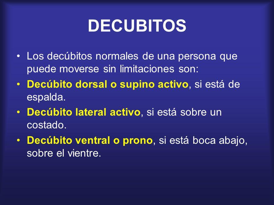 DECUBITOS Los decúbitos normales de una persona que puede moverse sin limitaciones son: Decúbito dorsal o supino activo, si está de espalda. Decúbito